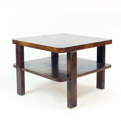 art deco square coffee table in walnut veneer czechoslovakia 1930s