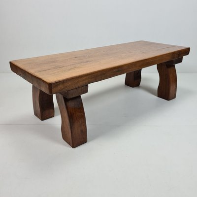 rustic solid oak rectangular coffee table with curved legs 1970s