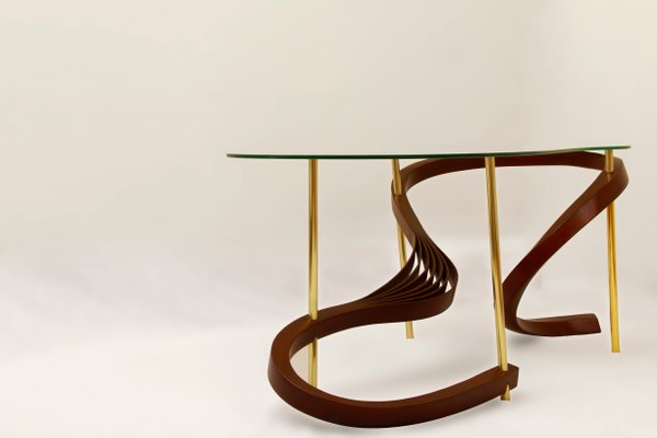 bentwood small coffee table with brass elements and safety glass by raka studio