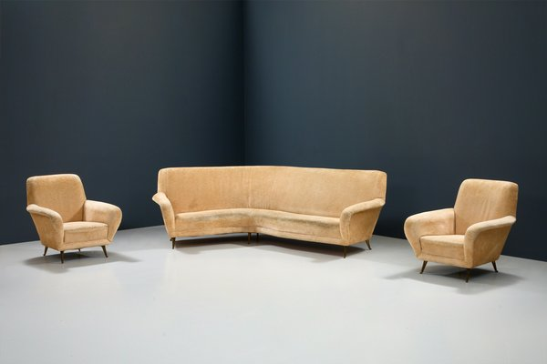 white curved sofa and lounge chairs by i s a bergamo italy 1950s set of 3