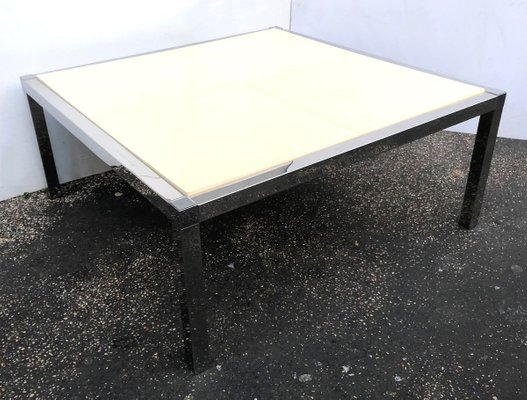vintage white and stainless parchment square coffee table 1970s