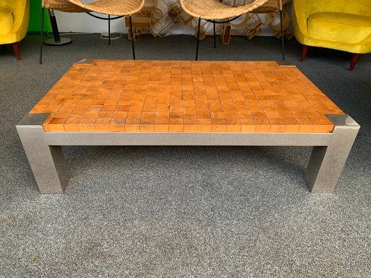 french coffee table with wooden cube and metal chrome 1970s