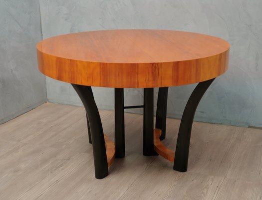 art deco italian round cherry wood dining table 1940s