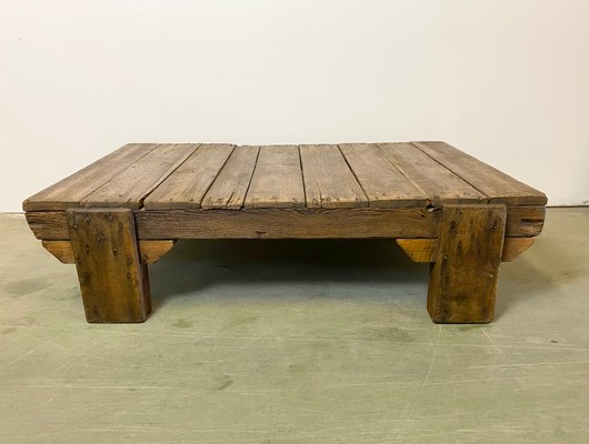 vintage industrial wooden coffee table 1950s