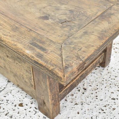 small rustic elm coffee table with drawer