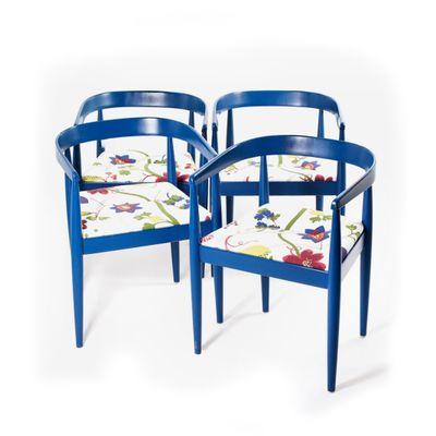 chaise vintage en tissu floral et hetre bleu
