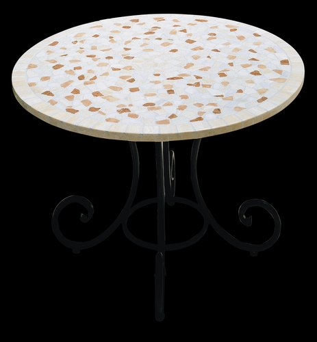 table ronde mosaique en marbre corallo de egram