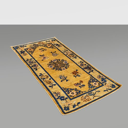 tapis antique en laine tissee a la main chine 1900s