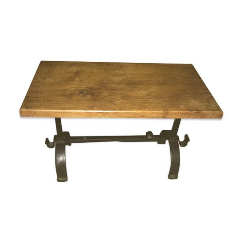 antique wood and hammered iron coffee table