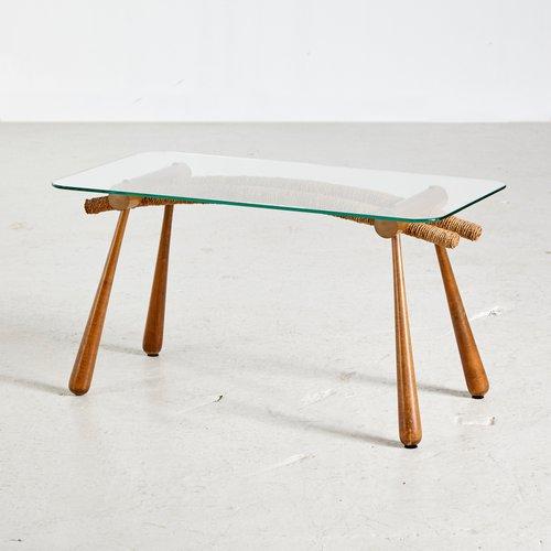 austrian glass top coffee table by max kment for kunstgewerbliche werkstatten 1950s