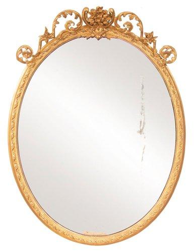 miroir oval ancien dore annees 1820