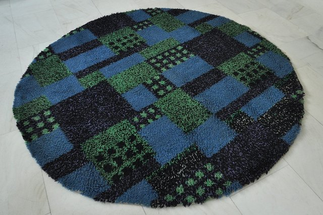 tapis shag rond annees 70