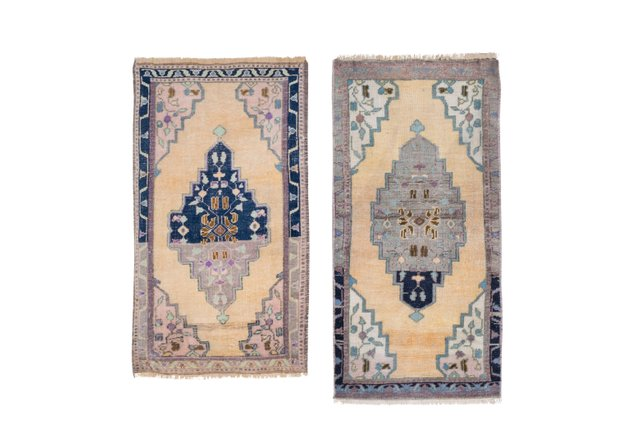 hand made bath mats or kitchen sink rugs 1970s set of 2