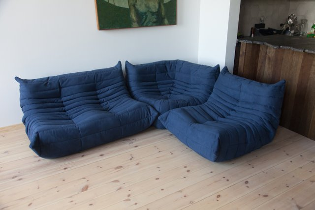 navy blue microfiber togo corner armchair armchair and 2 seater sofa set by michel ducaroy for ligne roset 1970s