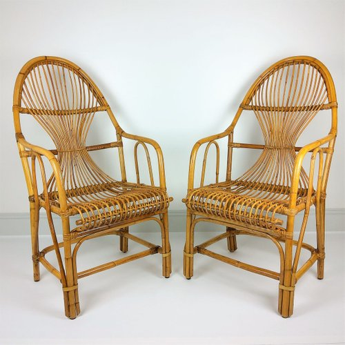 large vintage bamboo rattan lounge chairs 1960s set of 2