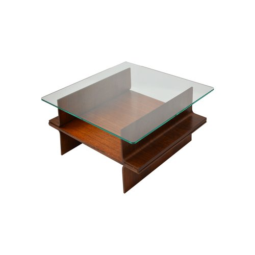 italian school coffee table in curved wood glass top 1960s