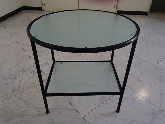 bauhaus black metal frame salon table with sanitized glass top 1940s