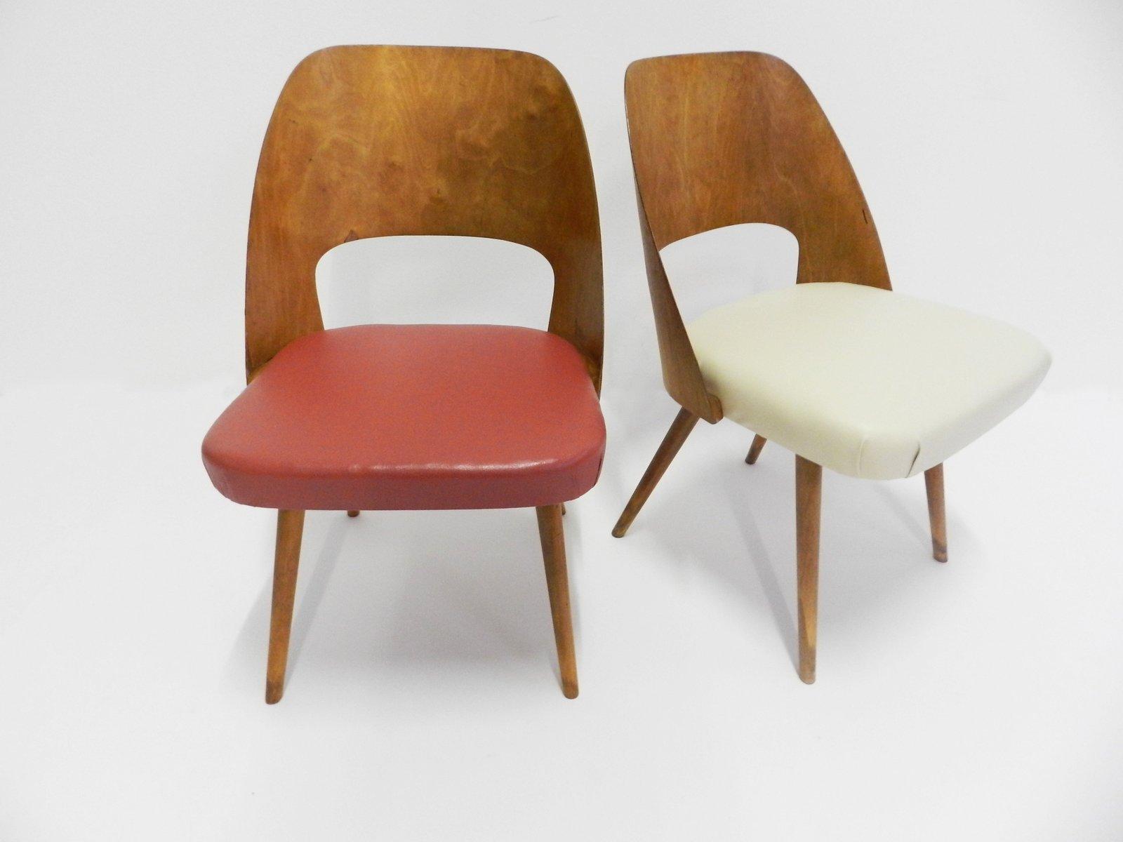 chaises d appoint rouges et blanches danemark 1950s