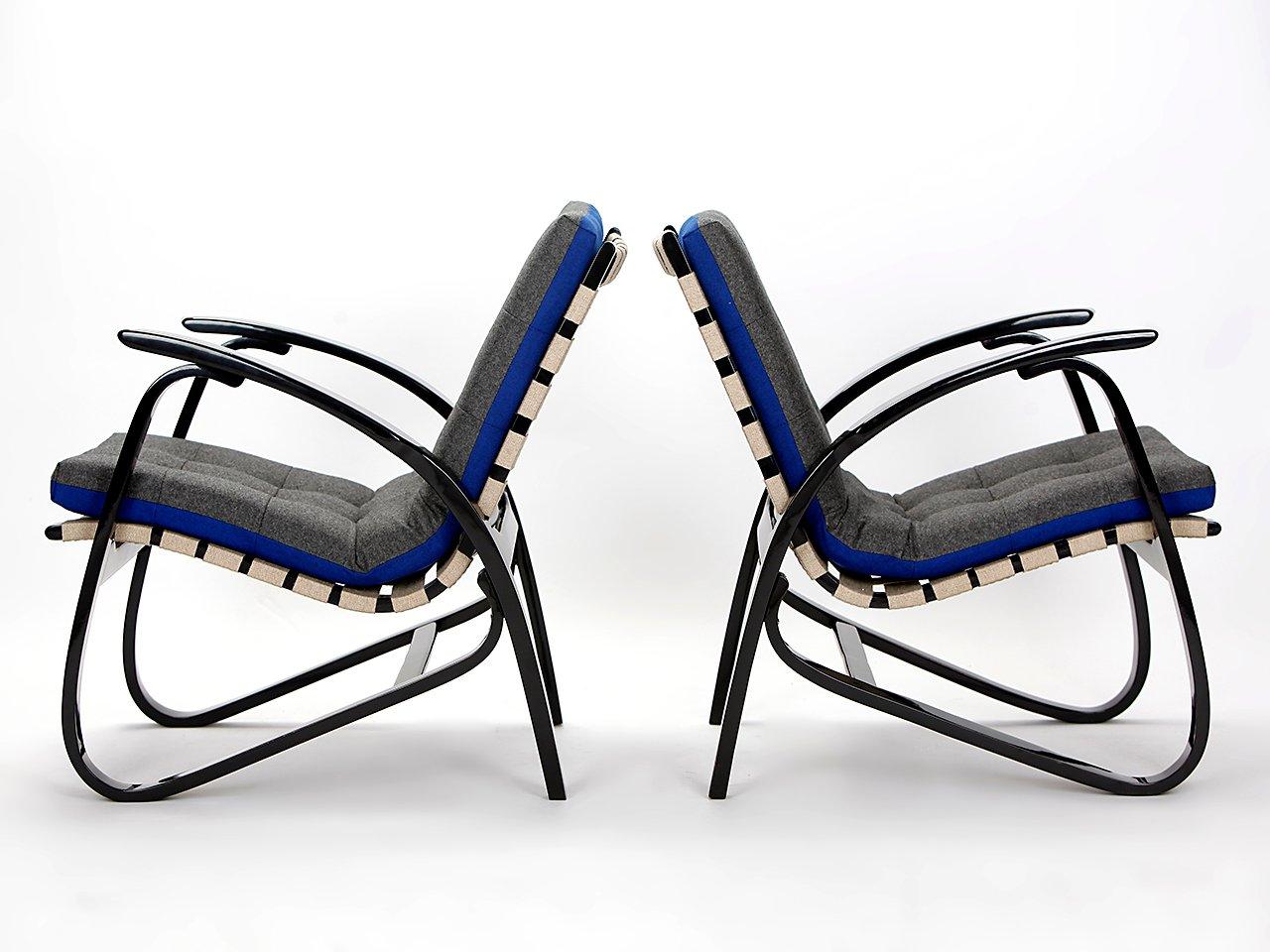 Vintage Blue Amp Grey Armchairs By Jan Vanek 1935 Set Of 2