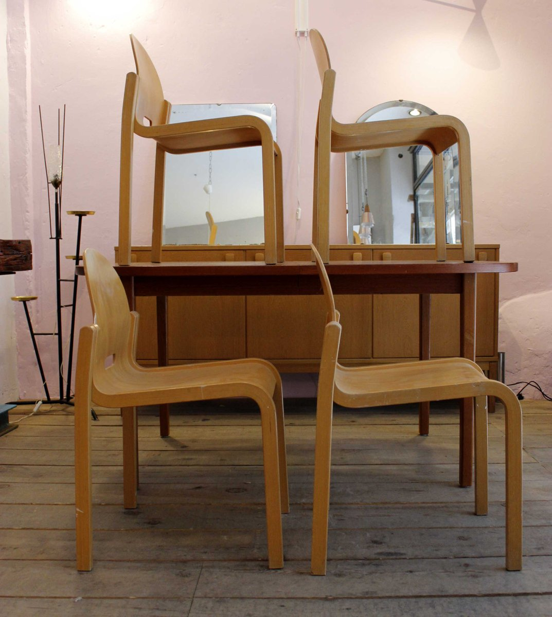 Mid Century Stacking Chairs 1950s Set Of 4