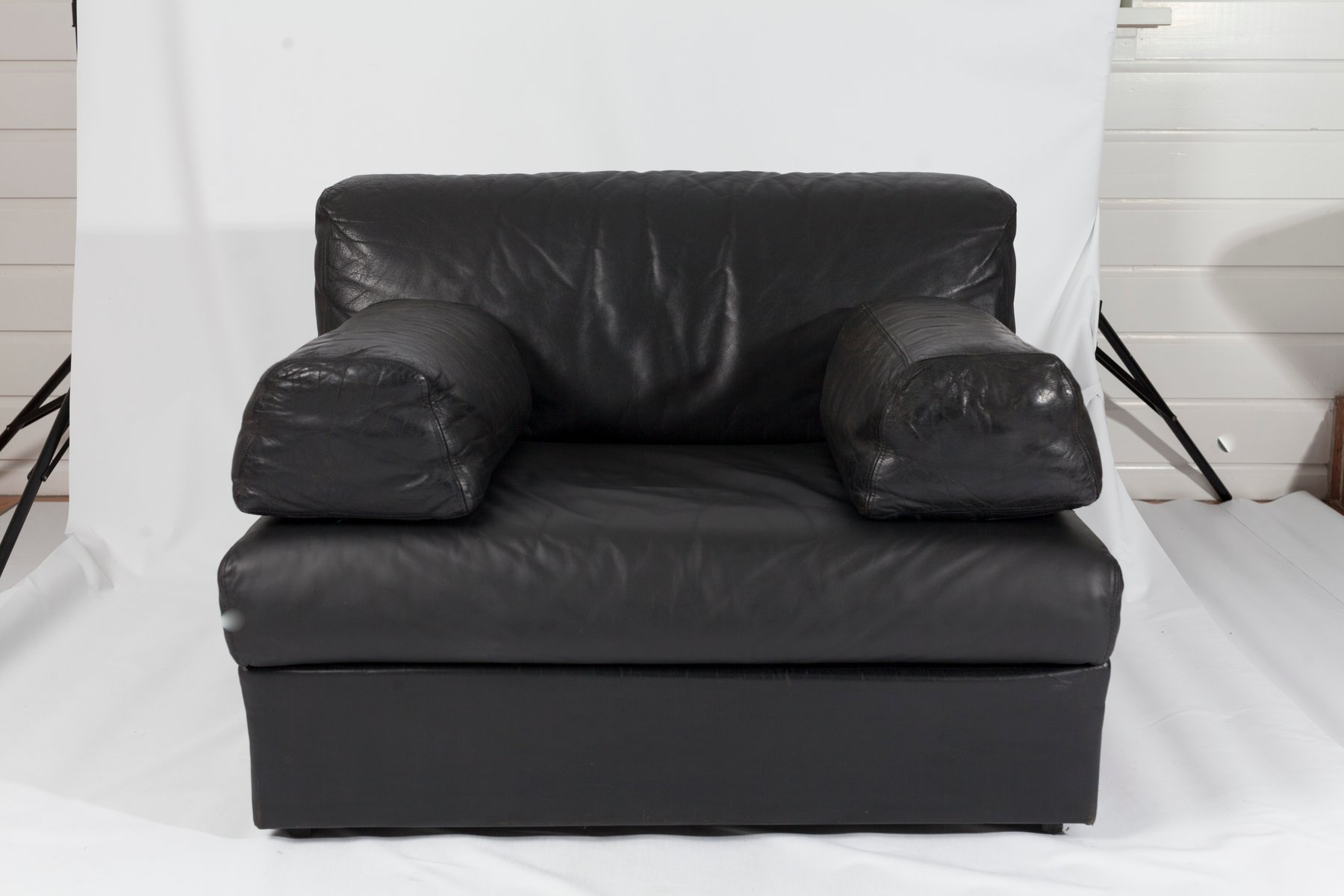 Black Leather Sectional Sofa 1980s