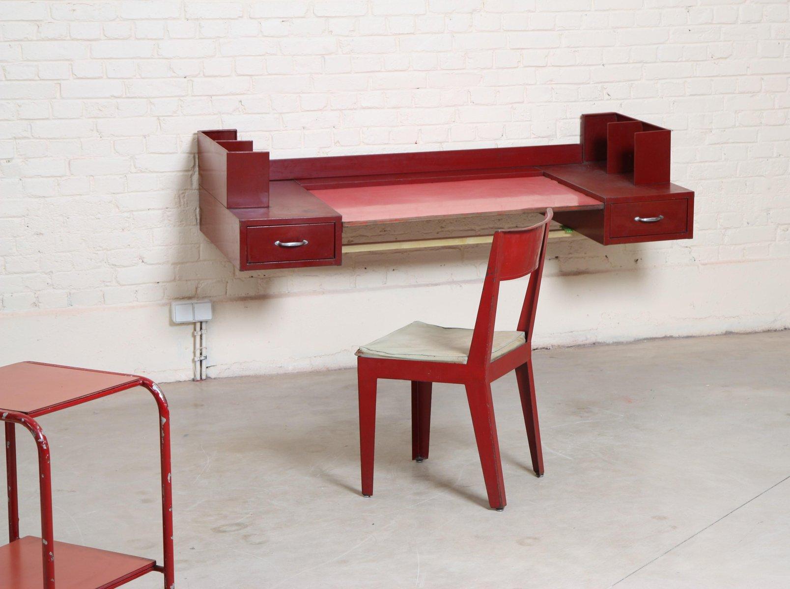 vintage office table chair by jean prouve jules leleu 1930s