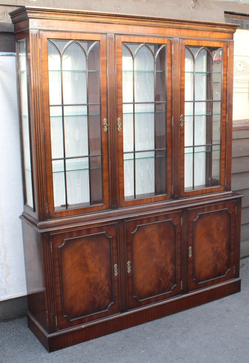 Mid Century Mahogany 3 Door Bookcase