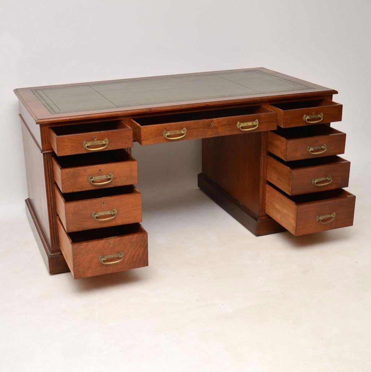 Antique Victorian Walnut Pedestal Desk For Sale At Pamono