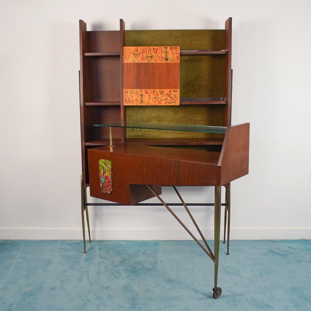 meuble de bar d angle vintage en bois et en laiton 1960s