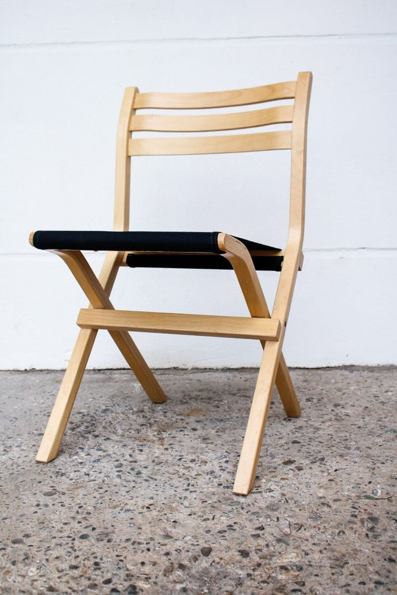Vintage Birch And Black Fabric Model Palo Folding Chair From Ikea 1980s For Sale At Pamono