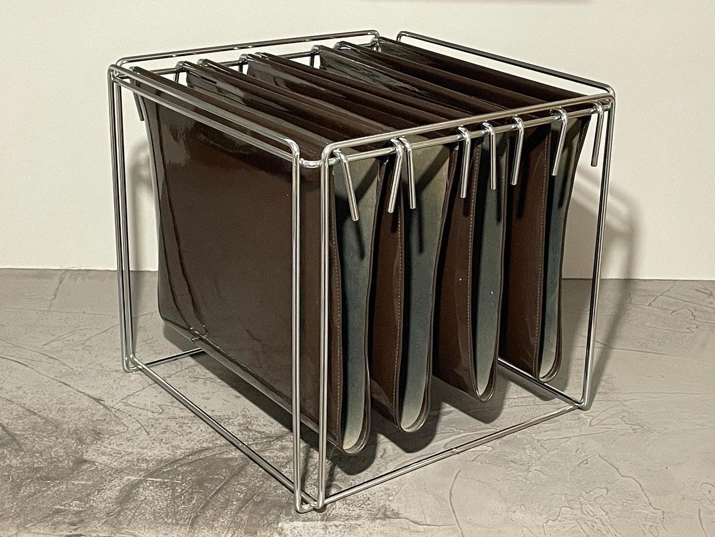 mid century steel wire magazine rack by max sauze