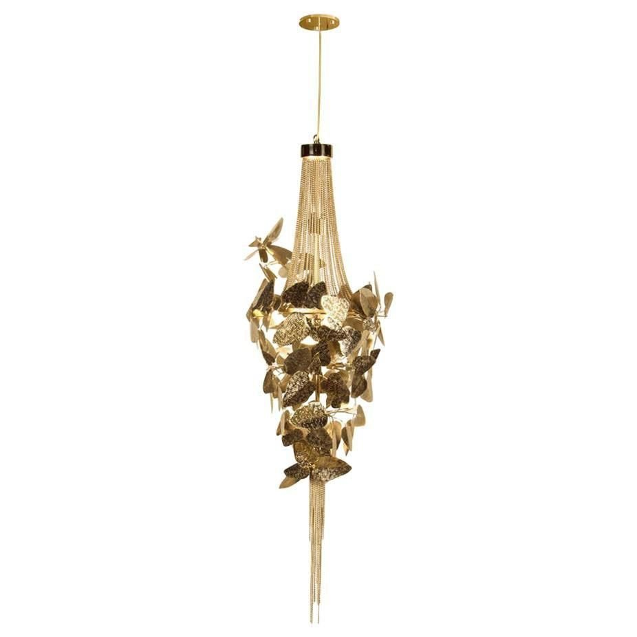 pendant light with gold plated brass and amber swarovski crystals