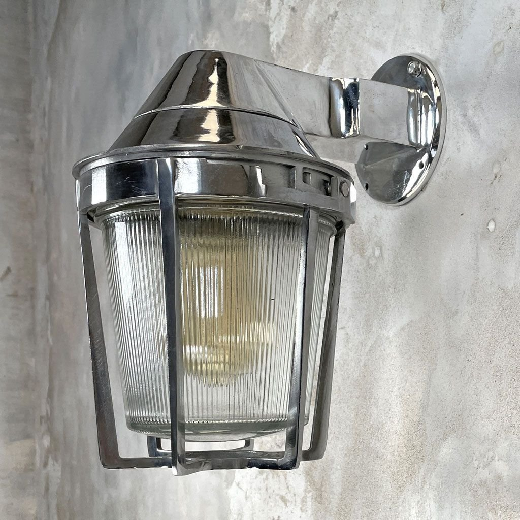 industrial american cast aluminum wall light with prismatic glass from appleton electric
