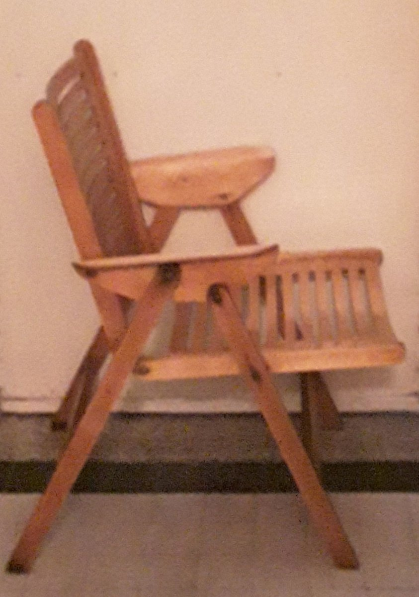 vintage light plywood folding patio chair 1950s