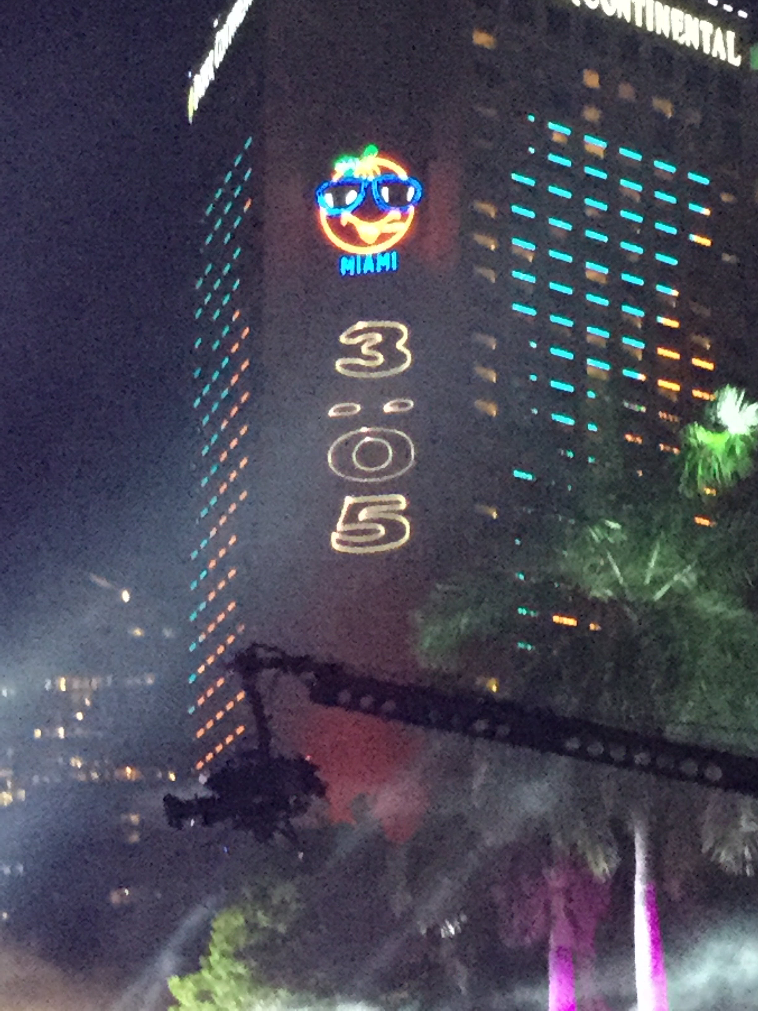 New Year s Wishes From Pitbull and Miami s Big Orange   Miami  FL Patch Clock shows 3 05 before midnight in the Miami 305  The fireworks were  followed by more musical performances until 12 30 a m
