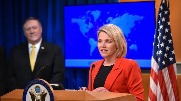 Sprecher des US-Außenministeriums Heather Nauert und Außenminister Mike Pompeo