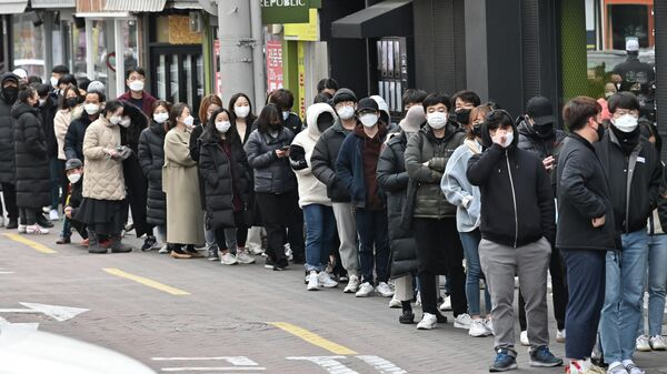 Line for medical masks in Daegu