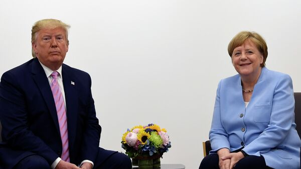 German Chancellor Angela Merkel with US President Donald Trump