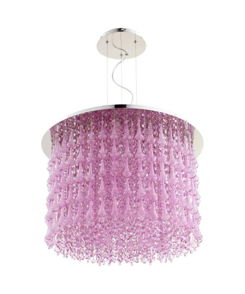 Cyan Design 06804 Charleston 23 Inch Wide 10 Light Large Pendant     Shown in Chrome finish and Purple glass
