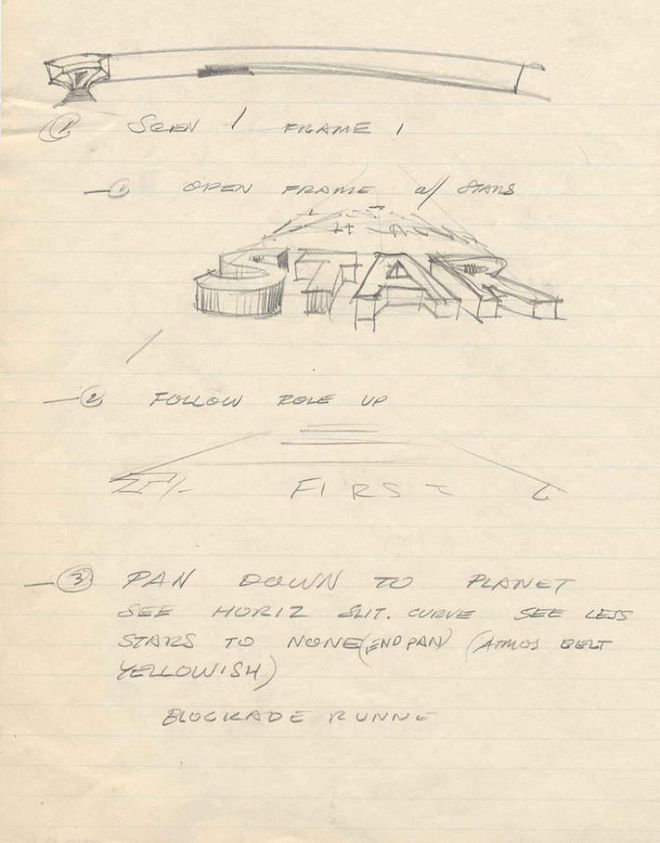 A handwritten outline of the opening sequence
