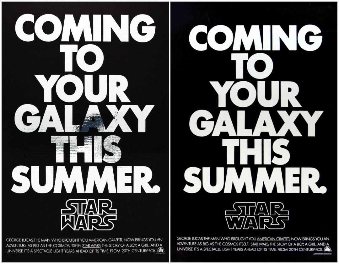 Image set: Star Wars teaser posters showing the evolution of Rice's logo design