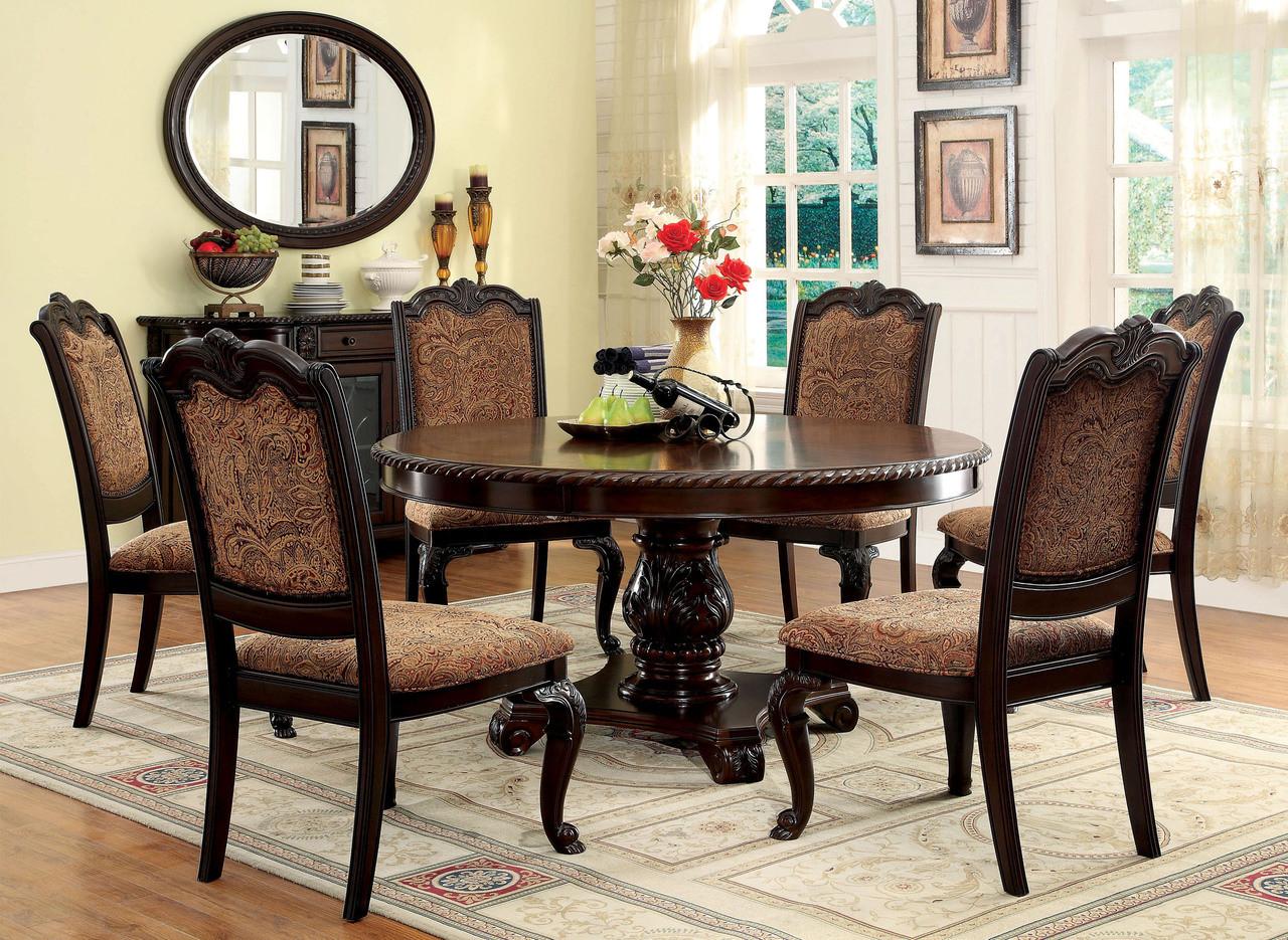 "60"" Bellagio Brown Cherry Round Dining Table Set"