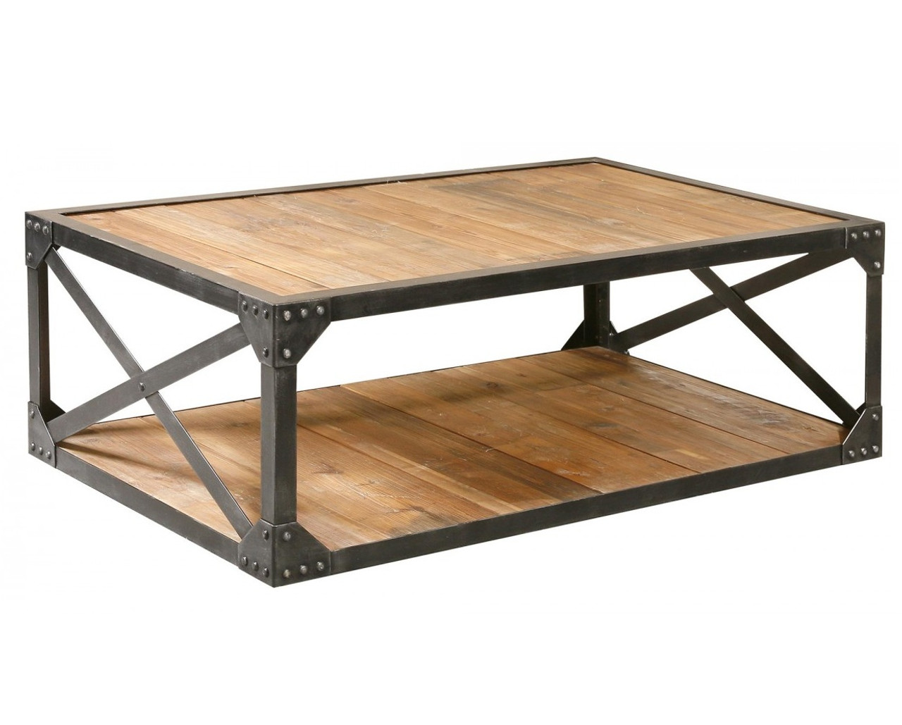 """Industrial Metal And Wood Coffee 51"""" Table"""