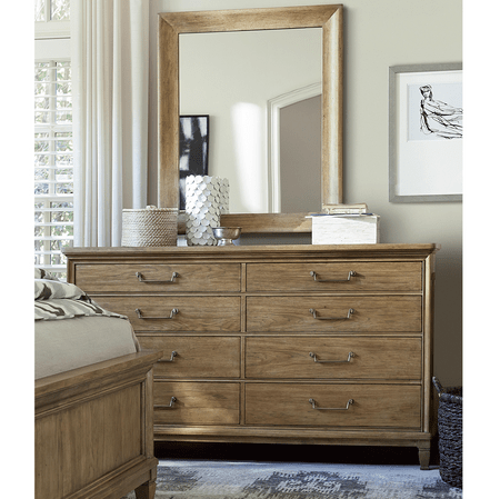 French Modern Light Wood 8 Drawer Double Dresser With