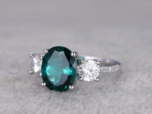 25 Carat Emerald Diamond Engagement Ring Moissanite
