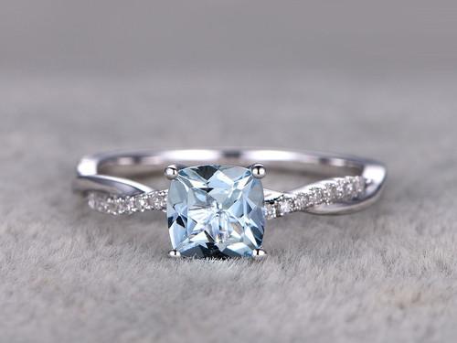 White Gold Aquamarine Engagement Rings With Diamonds