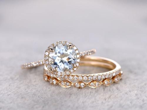3pcs Aquamarine Bridal Ring Set Diamond Wedding Band