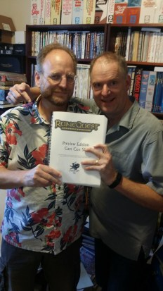 Rick and Jeff, showing off the special RuneQuest preview copies