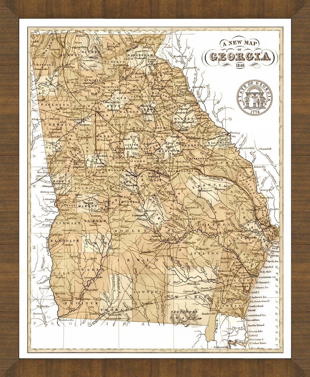 Old Map of Georgia     A Great Framed Map That s Ready to Hang Old Map of Georgia