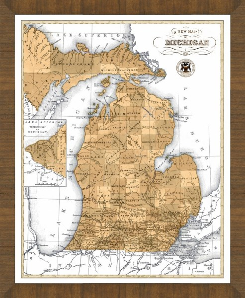 Old Map of Michigan     A Great Framed Map That s Ready to Hang Old Map of Michigan